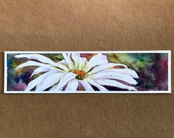 Shasta daisy watercolor handpainted bookmark small format art