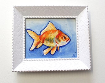 Goldfish original oil painting. Cute fish artwork. Original painting. Orange fish on a blue background. 4x5 inches. Frame included