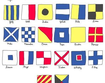 Individual Nautical Flags Sailing Flags Wooden Wall Art