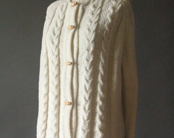 Vintage 70's Handmade Light Creme Cable Knit Button Up Hooded Cardigan Fishermans Sweater