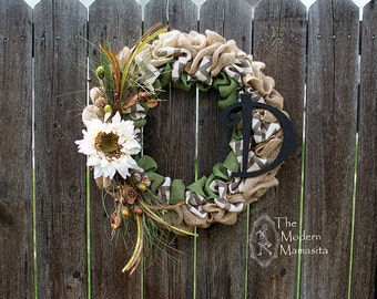 Green Autumn Chevron Wreath