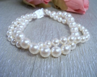 Bridal Pearl Bracelet, 2 Twisted Strands, Double Strand,  Bracelet, Wedding Bracelet, Bridesmaid Jewelry, Dressy