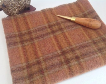 Wool Fabric for Rug Hooking and Applique, Select-a-Size, Red Rock Canyon, J824, Salmon Plaid Wool, Sunset Plaid Wool