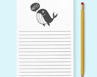 """SALE! Whale """"Notes"""" Illustrated Notepad • Tear Off Sheets • Risograph Printed • Cute Illustration • Lined"""