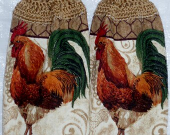 Set of two Rooster Kitchen Towels