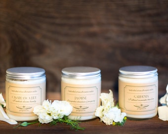 White Flower Soy Candle Collection - Fleur Blanche Collection, Artisan Soy Handcrafted Candles, Free Shipping Candle Collection