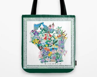 Tote bag, Wisconsin Wildflowers | prairie, woodland, native wildflowers | shopping bag, mother's day gift