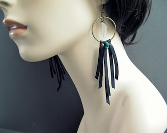 Leather Earrings: Black Leather Hoop Earrings with Quartz Crystals Turquoise and Fringe - Burning Man Tribal Dream Catcher Earrings