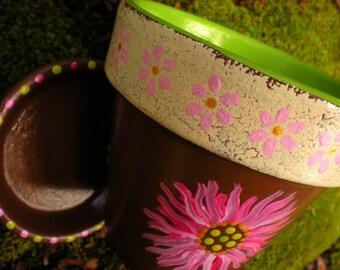 Painted Flower Pot - Four Inch - Rustic Planter - Succulent Planter - Herb Planter