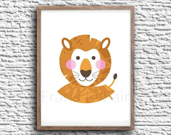 Lion nursery wall art digital printable poster 8x10 INSTAND DOWNLOAD lovely illustration nursery decoration children Frank le Pair