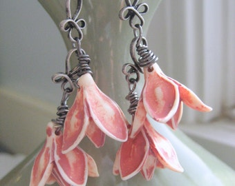 Rambling Roses dangle earrings, Lucite and oxidized silver, long drop earrings