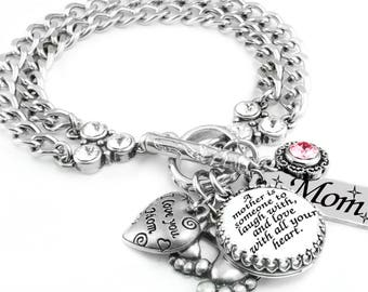 Silver Inspirational Jewelry, Mother's Jewelry, Silver Charm Bracelet, My Mom My Best Friend