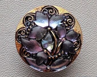 CZECH GLASS BUTTON: 27mm Flower with Scrolls Handpainted Czech Glass Button, Pendant, Cabochon (1)