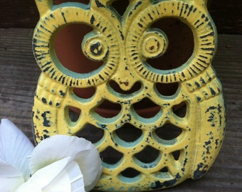 Owl Trivet/ Cast Iron Owl Trivet/ Distressed Trivet/ Shabby Chic Decor