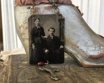 Vintage Tintype Photo Pendant with rosary bead accents