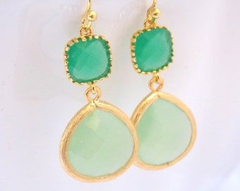 Glass Earrings, Green Earrings, Mint Earrings, Mint Green, Gold Earrings, Bridesmaid Earrings, Bridal Earrings Jewelry, Bridesmaid Gifts