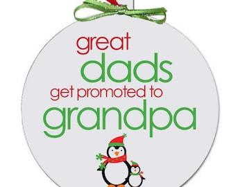 Grandpa Christmas ornament - perfect Christmas penguin pregnancy announcement idea for grandparents to be CGDPGPCO