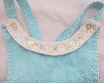 vintage girls turquoise overalls