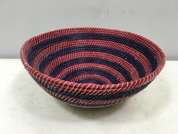 Basket African Lesotho Red Purple Woven South Africa Handmade Hand Woven Coiled Woman Unique SM14