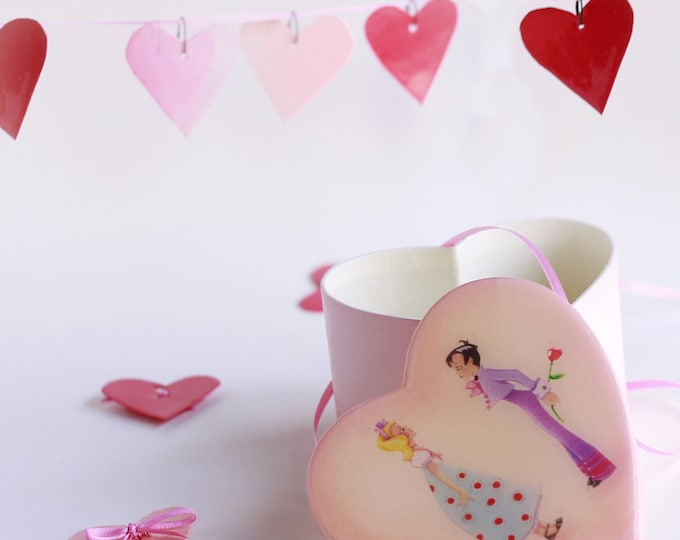 HEart GARLAND in a HEART SHaped BOX | Handmade Candy Box | Jewelry Box  |Keepsake Box | Treasure Box |  First Love by Valerie Walsh