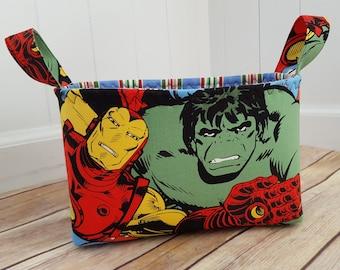 Fabric storage basket, superhero fabric basket, superhero nursery, superhero fabric basket, superhero Teacher gift, superhero baby, marvel