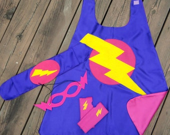 Girls Super Hero Cape PLUS Accessory Set Choose from 10 sets - Supergirl party - Girl Birthday gift
