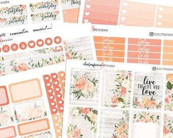 Rustic Floral - Planner sticker kit for Erin Condren   floral wood flowers burlap