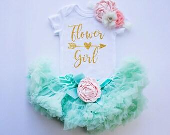 Flower Girl Outfit, Flower Girl Rehearsal Outfit, Bridal Crew Shirt, Flower Girl Top / Bodysuit, Flower Girl Gift, Wedding Rehearsal