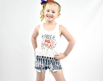 Girl's 4th of July Outfit - Free to Sparkle Fourth of July Shirt - July 4th Top - Patriotic Fringe Tank - 'Merica Shirt - Stars and Stripes