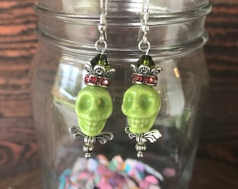 Lime Green Skull Earrings