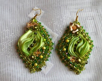 Shibori silk embroidered earrings