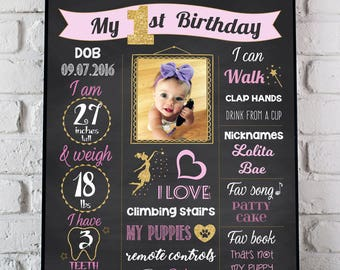 Princess Birthday Chalkboard Sign + PICTURE, Pink and Gold Birthday Poster + PHOTO, Gold Crown 1st Birthday Sign, Girl First Birthday Poster