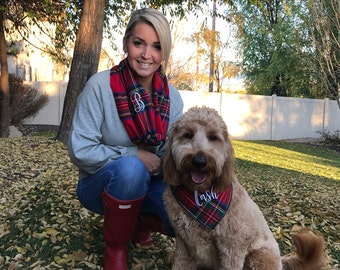 Loop Scarf for Mom and Dog Bandana. Tartan plaid personalized matching set.Beautiful, soft cozy red or navy kilt flannel. Fun Selfies