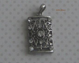Antique silver pendant RECTANGLE rhinestones