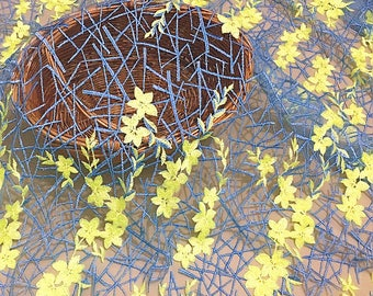 Yellow Flower Lace Fabric Embroidered Florals Lace Wedding Bridal Lace Fabric Dress Gauze Tulle L139