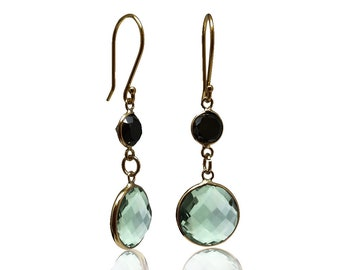 Diamond Round Prasiolite Dangle Earrings 14K Yellow Gold Black Diamond Green Amethyst Earrings
