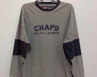 Rare!! Chaps Ralph Lauren Long Sleeve Shirt Big Logo Medium Size