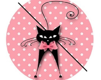 Black Cat on pink polka dot background, 18mm