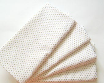Napkins - Wedding Napkins - Cloth - Holiday, Dinner, Table, Everyday - Set of 4 - Gold White Polka Dots