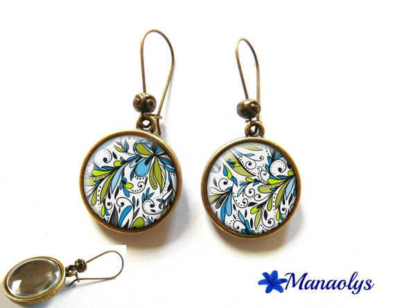 Earrings sleepers bronze, retro, blue and green patterns 1032 glass cabochons
