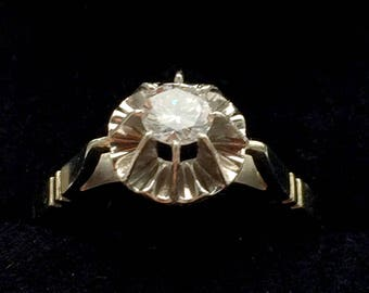 Antique 1900's white gold ring 18 k Platinum solitaire diamond 0 30ct - 1900 Antique ring, 0, 30ct solitaire diamond 18 k gold Platinum (vintage)