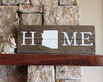 Arizona HOME -Reclaimed Wood Sign, Arizona wall art, wooden Arizona , wood Arizona sign, Arizona gift, Arizona plaque, Arizona art, AZ art