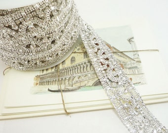 Silver Rhinestone Applique Trim, Rhinestone Chain, Rhinestone Applique, Wedding Trim, Clear Crystal Trim, 30mm ( 1 Feet Qty)