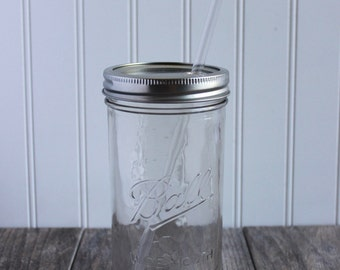 24 oz. Mason Jar Tumbler and BPA Free Reusable Straw - Pint & A Half Size