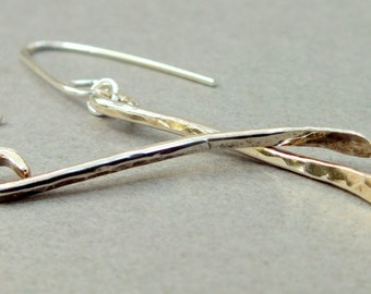 Hammered Earrings. Sterling Silver Modern Earrings Minimalist. Long Earrings. Trendy Earrings.
