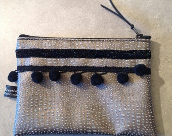 Taupe leather bag, black and silver