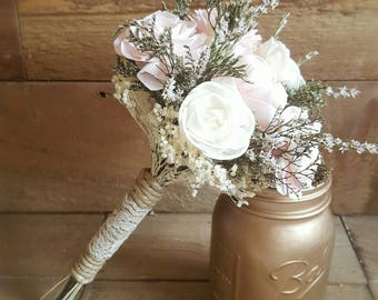 Custom Natural Blush and Ivory Garden Sola Flower Bouquets and dried Flowers and greenery Wood Flowers Alternative Bouquet