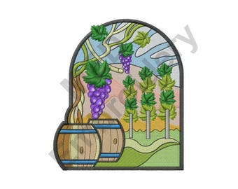 Vineyard - Machine Embroidery Design, Grapes, Wine