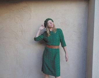 Vintage Avocado Green Cotton A-Line Eyelet Lace Dress