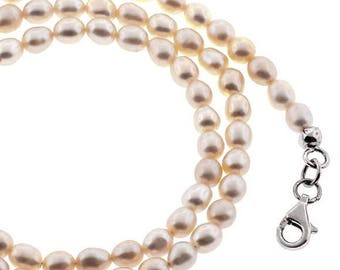 Womens Cultured White Pearl Chain Necklace Sterling Silver 6 mm 18.5 inch